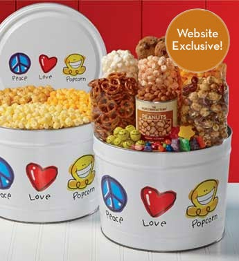 Peace Love & Popcorn 3-Way Popcorn & Snack Assortment Tins