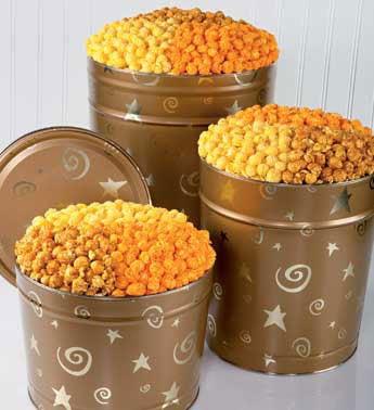 Gold Stars & Swirls Popcorn-6 1/2 Gallon 3 Way