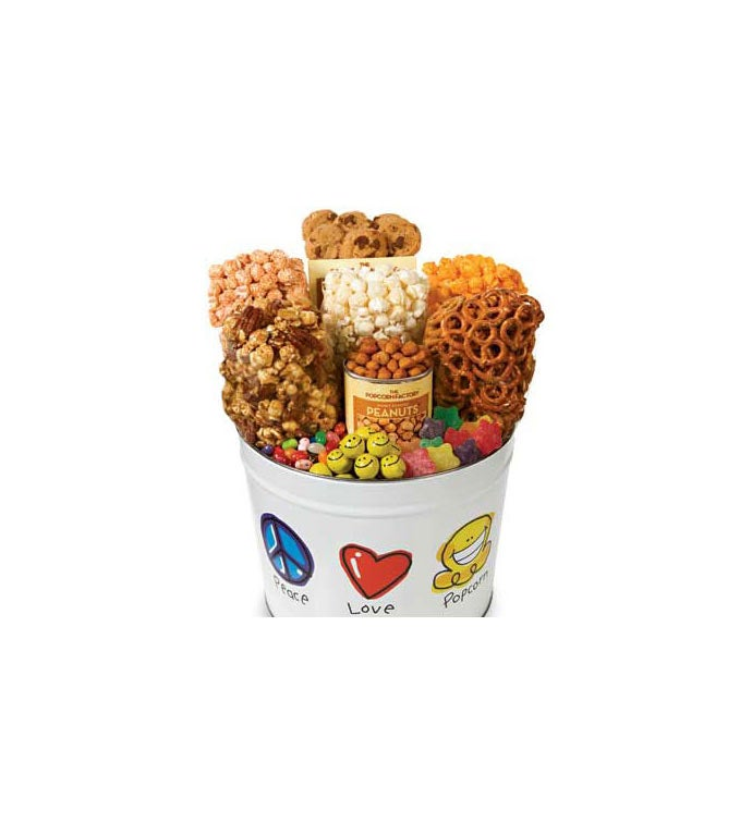 Peace Love & Popcorn Popcorn & Snack Assortment Tins