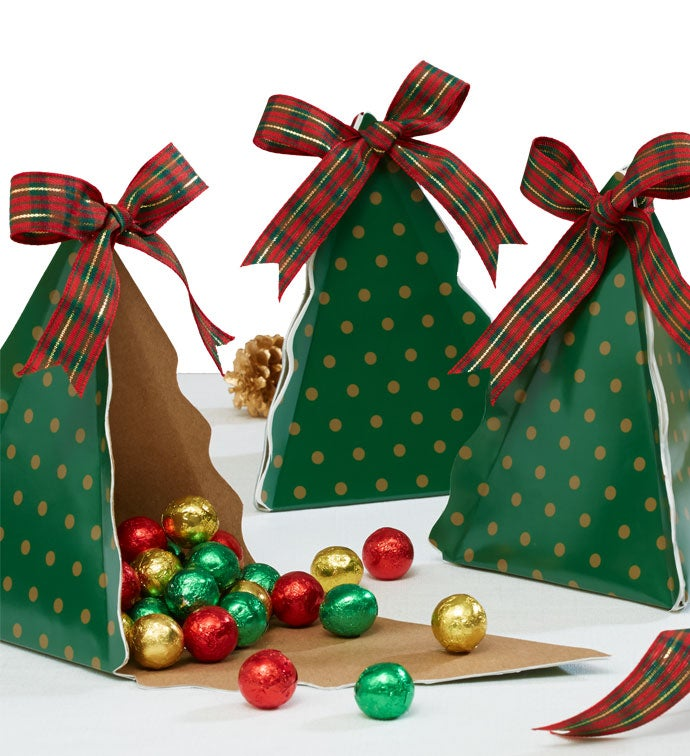 Set of three christmas tree gift boxes for Christmas tree in a box